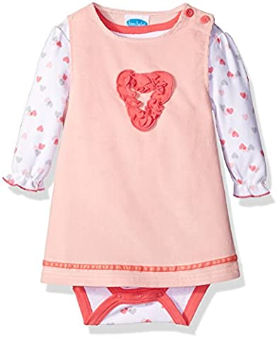 BON BEBE Baby Girls' 2 Piece Corduroy Jumper Set with Longsleeve Lap Shoulder Bodysuit, Coral Hearts, 12 - Corduroy Jumper Dress Set