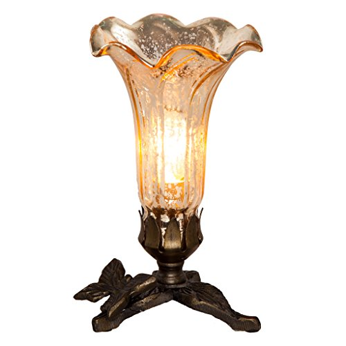 Hand Blown Mercury Glass Lamp: 8 Inch Decorative Lily Flower Accent Table Lamp Shade with Bronze Butterfly Art Base - High-End, Colorful & Portable Lamps for Small Elegant Home Decor - Gold