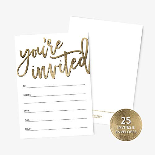 ed Fill-In Party Invitations and Envelopes, Faux Gold Texture, For Bridal and Baby Shower, Rehearsal Dinner, Birthday Party, Anniversary, Graduation ()
