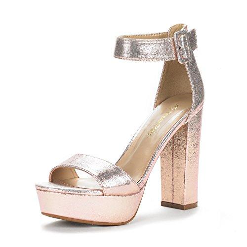 DREAM PAIRS Women's Hi-Lo Champagne Pearl High Heel Platform Pump Sandals - 8 M US