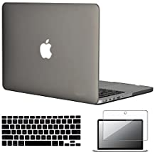 """Easygoby 3in1 Frosted Matte Silky-Smooth Soft-Touch Hard Shell Case Cover for Apple 13.3""""/ 13-inch MacBook Pro with Retina Display Model A1425 /A1502 (NO CD-ROM Drive) + Keyboard Cover + Screen Protector - Gray"""