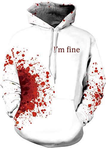 FLYCHEN Men's Digital Print Sweatshirts Hooded Top Galaxy Pattern Hoodie bloodstain SM -