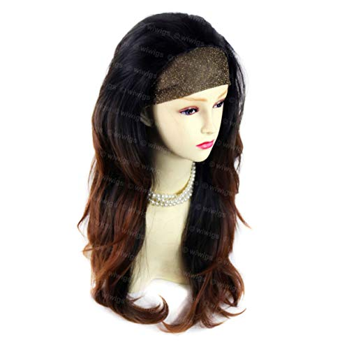 Wiwigs AMAZING Black Brown & Red Long 3/4 Fall Wig Hairpiece Wavy Dip-Dye Ombre hair