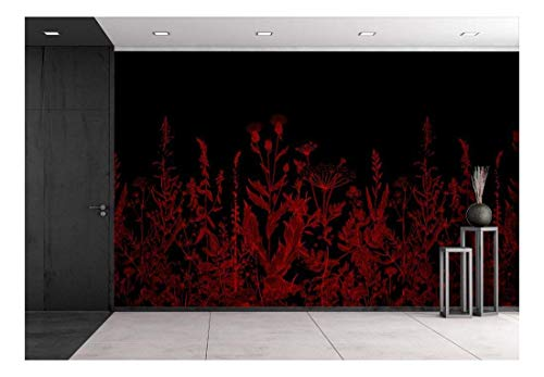 Large Wall Mural Red Flowers on Black Background Vinyl Wallpaper Removable Wall Decor