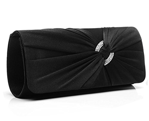 Black Satin Clutch (Jubileens Satin Diamante Pleated Evening Clutch Bag Bridal Handbag Prom Purse (Black))