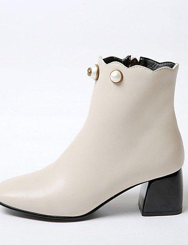 XZZ/ Damen-Stiefel-Büro / Kleid / Lässig-Kunstleder-Blockabsatz-Absätze / Quadratische Zehe / Modische Stiefel-Schwarz / Mandelfarben almond-us9 / eu40 / uk7 / cn41