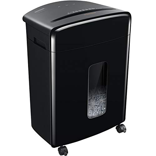 Bonsaii 15-Sheet Cross-Cut Paper/CD/Credit Card Shredder with 5.3 Gallon Pullout Basket and 4 Casters, 10 Minutes Running Time, Black(C221-A)