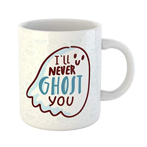 Fabri.YWL 11 OZ Coffee Mug Orange Autumn Pun Halloween Cute Doodles and Lettering Text I Ll Never Ghost You Word Play on Quibble for Bat White Ceramic Glossy Tea Cup,Fun Mugs,Funny Gift