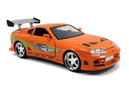 Jada Toys Fast & Furious Movie 1 Brian's Toyota Supra diecast collectible toy vehicle car, orange with decals, 1:24 scale from Jada