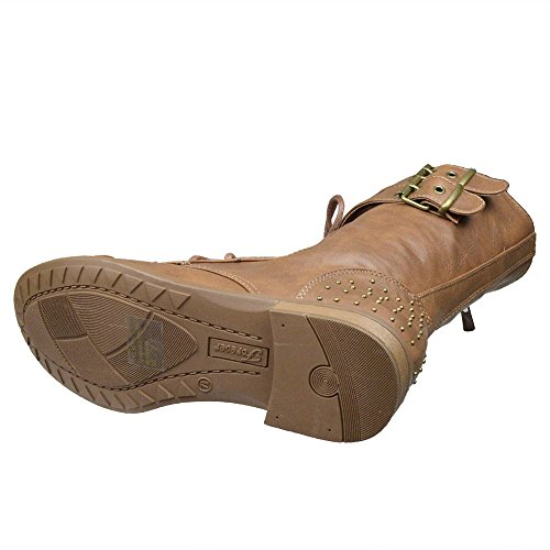 Dames Enkellaarzen Gesp Accent Studs Lace Up Combat Boots Tan