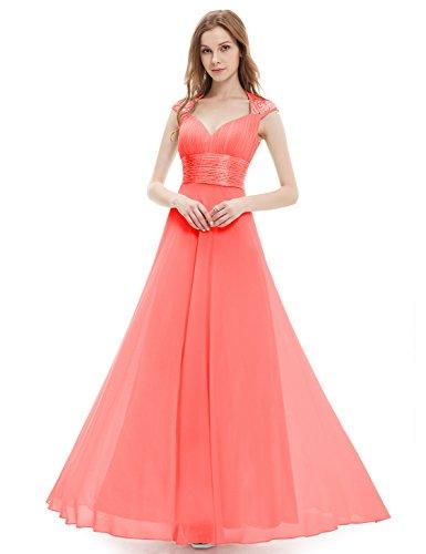 Femme Ever Corail Empire pretty Longue Col V Style Robe 09672 Soirée De z76zqUr