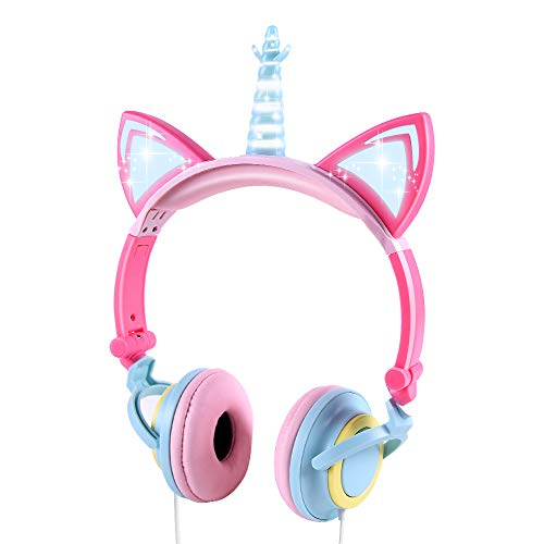 LOBKIN Unicorn Kids Cat Ear Headphones LED Light Up Earphone Wired Adjustable for Boys Girls Back to School Supplies, Kids Headband Earphone Foldable Over On Ear Game Headset for Toddlers