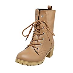 683257eeb59 Winter Solid Color Med Shoes,Women Combat Riding Ankle Boots .