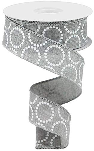 (Pearl Beads Circles Canvas Wired Edge Ribbon - 10 Yards (Light Grey,)