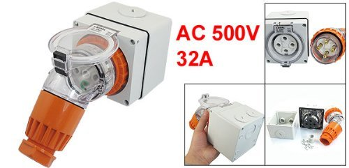 eDealMax AC 500V 32A IP66 3Pin + E 56PA432 Industrial Angled w 56SO432 Socket