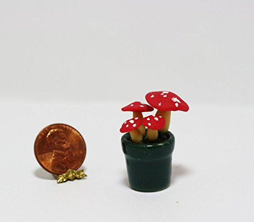 Bright Delights Dollhouse Miniature 1:12 Scale Red Spotted Mushrooms in Ceramic Planter ()