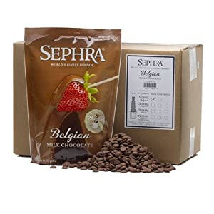 Sephra Belgian Milk Chocolate, Fondue Chocolate Belgium, Kosher Dairy Belgian Chocolate Fondue for Chocolate Fountains, Belgian Chocolate for Baking, Fondue Chocolate Chips, 20lb Case - 10 x 2 lb bags