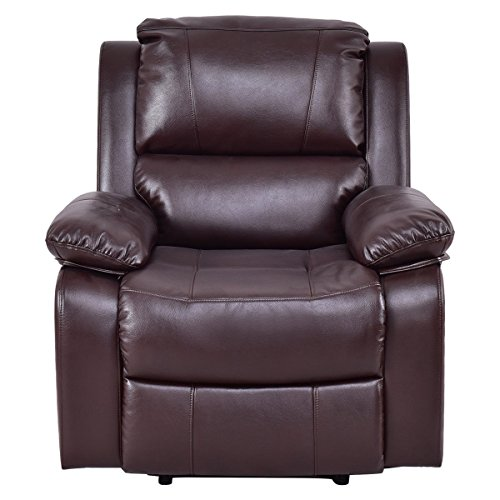 Brown Ergonomic Recliner Sofa Chair Breath Leather PU Lounge Capacity 330 Lbs w/ Detachable Armrests - Executive Home Theater Sofa