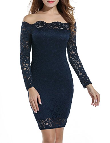 (ACEVOG Women's Retro Floral Lace Slim Evening Cocktail Mini Dress Navy Blue)