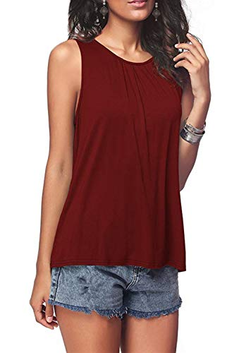 DRAGON VINES Women's Summer Sleeveless Pleated Back Closure Casual Tank Tops Red