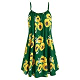 HAPPYSTORE Women Dresses Summer Bohemian Floral Sunflower Spaghetti Strap Tank Sexy African Mini Dress Green