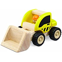 Wonderworld Yellow Miniature Wooden Loader - Push Toy, Movable Latter, Real Rubber Tires + Bonus Driver Included