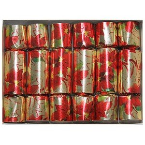 poinsettia english christmas crackers set of six 10 inch holiday party crackers with tissue crown