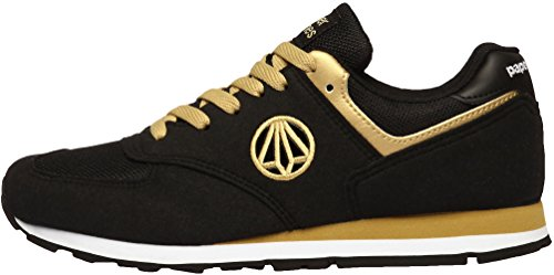Paperplanes - 1336 Unisex Classic Lace Up Suede Running Sneakers, Gold - Schwarz / goldfarben - Größe: 43,5