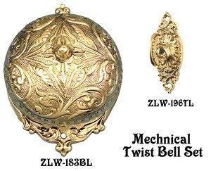 Recreated Interior Mechanical Fancy Victorian Rococo Twist Doorbell SET (Victorian Twist Doorbell)
