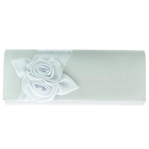 Wocharm White Handbags Wedding Women Clutch Party Handbag Evening Girly Ladies Flower Purse Bag Design Satin grg6Tq