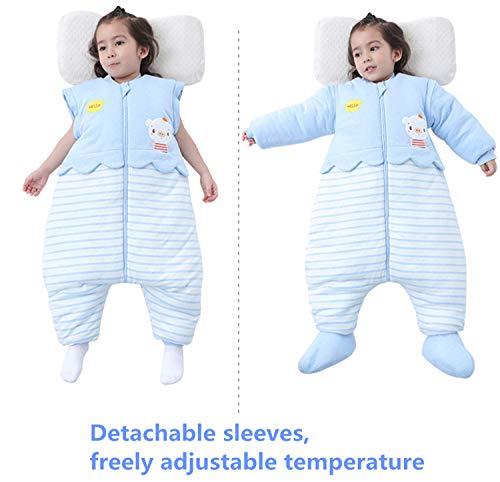Kinderschlafsack Baby Winter abnehmbar Langarm Schlafanzug Schlafsack mit Füssen