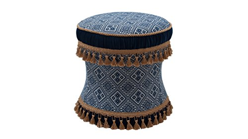 Jennifer Taylor Home Leona Collection Traditional Trim Tassel Round Living Room Vanity Stool, Midnight Blue