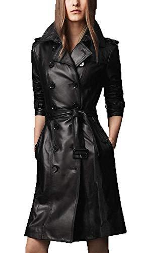 Trailblazerzz Womens Long Gazy Classy Kimono Type Double Breasted Leather Jacket Women Trench Coat Overcoat Peacoat Black