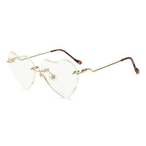 Yangjing-hl Gafas de Sol sin Marco de corazón de durazno ...