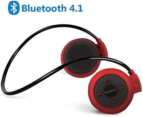 Bluetooth 4.1イヤホン ワイヤレスヘッドホン 耳掛け式ヘッドセット 高音質 重低音 オープン型 圧迫感なし 無痛装着タイプ 耳かけ マイク付き 遮音 TFカード対応 スポーツ防汗仕様 iOS Android スマホ 対応レッド