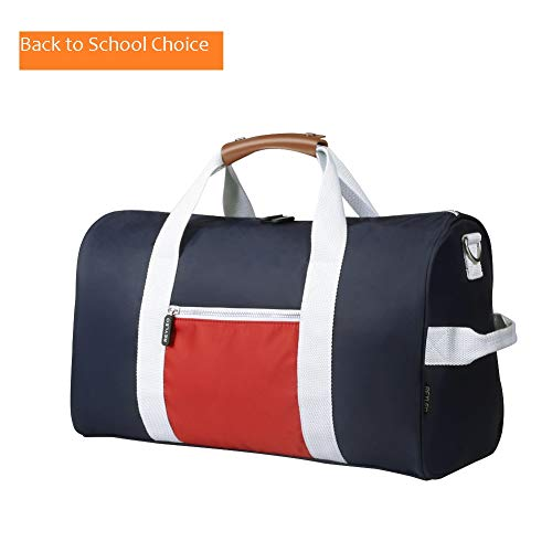 REYLEO Small Gym Duffle Bag, 18.5″ Travel Bag Carry On for Men Women, Water Resistant, Genuine Leather Handle, Color Blocking Design, for Sports Exercising Short Journey For Sale