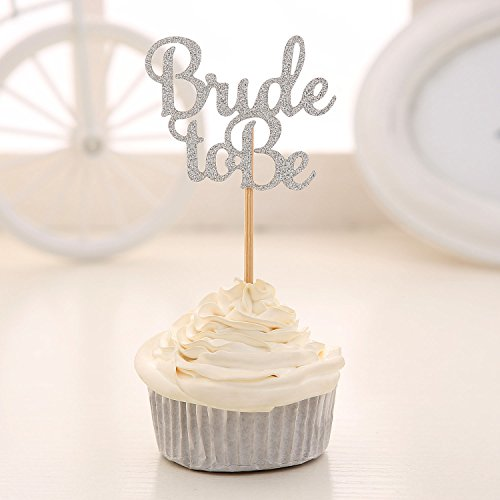 24 PCS Silver Glitter Bride to be Cupcake Toppers Wedding Bridal Shower Decors