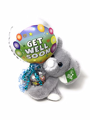 Get Well Balloon Bouquets (KelliLoons Get Well Bouquet with Plush Elephant, Balloon and Candy)