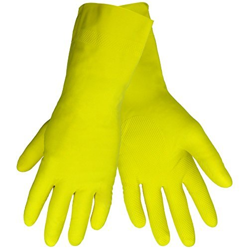 Global Glove 150FE Flock Lined Latex Economy Grade Glove, Chemical Resistant, Small, Yellow (Case of 144) by Global Glove