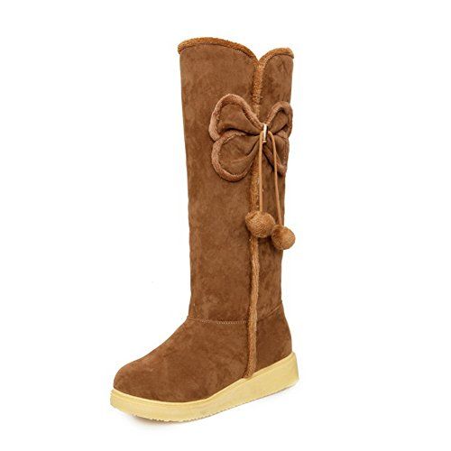 AN A&N Womens Boots High-Top No-Closure Heeled Fringed Warm Lining Not_Water_Resistant High-Top Platform Light-Weight Urethane Boots DKU01822 Brown cJI7Yh3RL