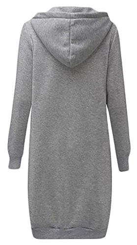 Cruiize Womens Fleece Autumn Hoodie Loose Full Zip Long Sweatshirts Coats Gray Small