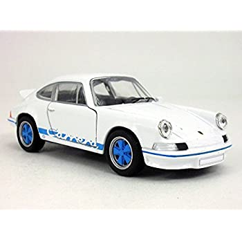 4.5 inch 1973 Porsche 911 Carrera RS 1/32 Scale Diecast Model by Welly - White/Blue