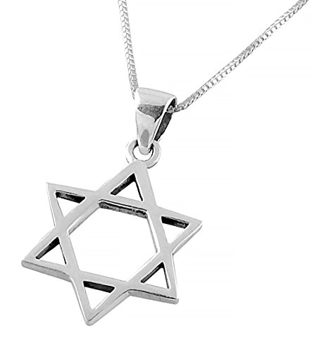 AJDesign 925 Sterling Silver Classic Star of David Pendant Necklace for Men & Women with Chain (18