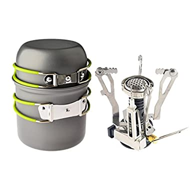 Petforu Camping Propane Canister Stove with Cooking Tool Set, 2 Piece