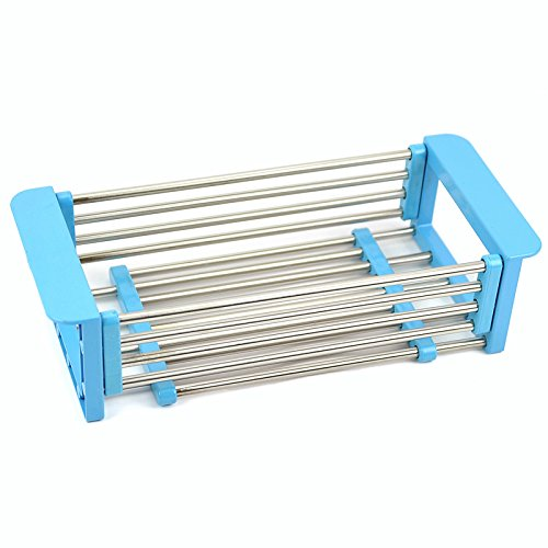 Adjustable Over the Sink Dish Drainer Dish Drying Rack, Stainless Steel Dish Rack Functional Kitchen Strainer for Drying Vegetables and Fruit, Silverware- Rustproof (blue)
