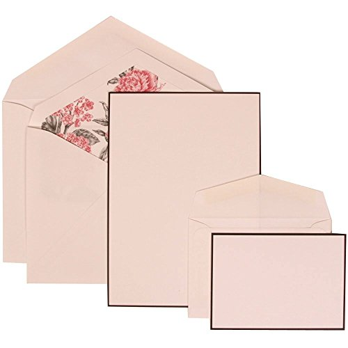 JAM Paper Wedding Invitation Combo Sets - 1 Small & 1 Large - Black Border Floral Sets, White Card with Pink Floral Lined Envelope - 150/pack by JAM Paper