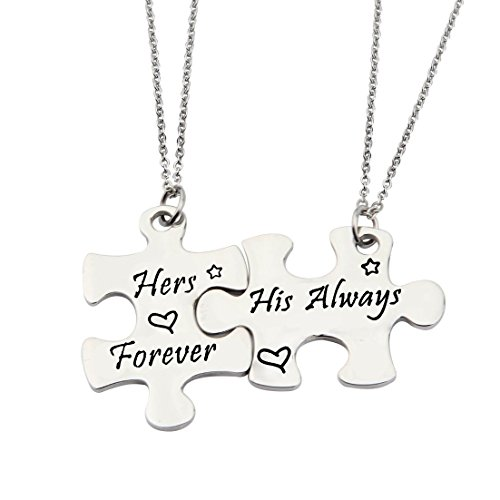 Gzrlyf Couples Keychain His Always Hers Forever Keychain Puzzle Pieces Gift Wedding Bift (Set necklace) by Gzrlyf