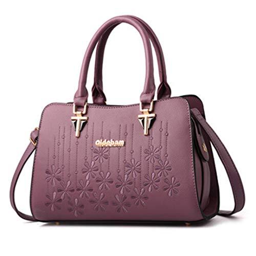Sacs main dames de en grande d'épaule pour sacs main bandoulière de capacité élégants de broderie femmes Purple des à à à Sacs cuir de nPRzSxwR