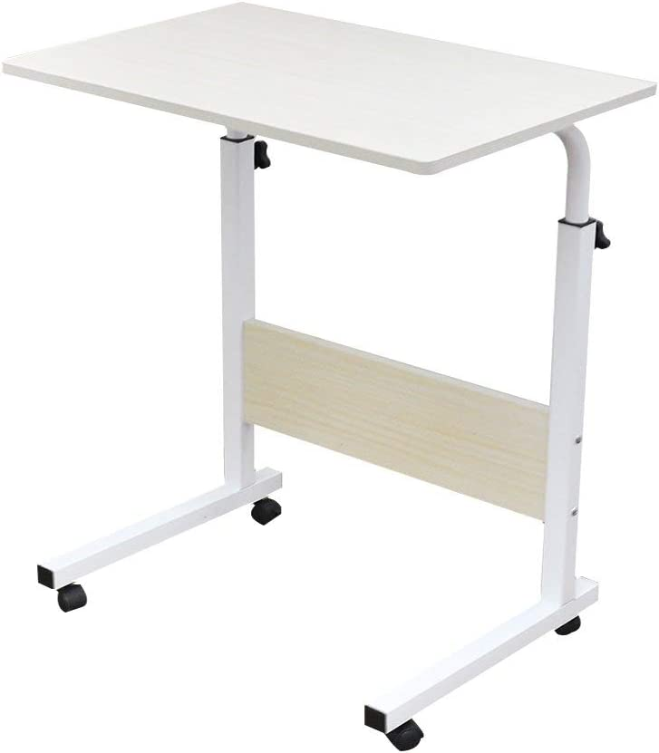 SogesPower 23.6 inches Mobile Laptop Desk Adjustable Side Table Computer Stand for Bed Sofa, White Maple