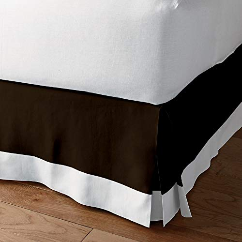 Classic Box Pleated Bed Skirt Dust Ruffle Tailored Styling (Chocalate/White,Short Queen - 28